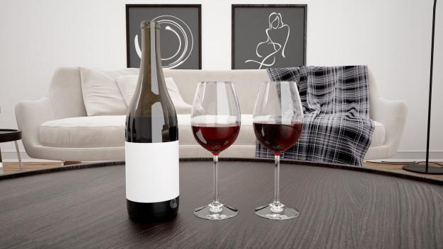 Etiketten maken wijnfles